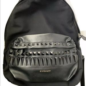 Auth Givenchy star studded nylon leather backpack